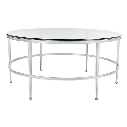 Edmund Coffee Table, Antiqued Silver