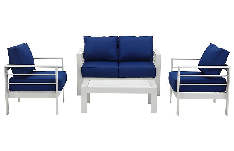Nason 4-Pc Lounge Set, Navy