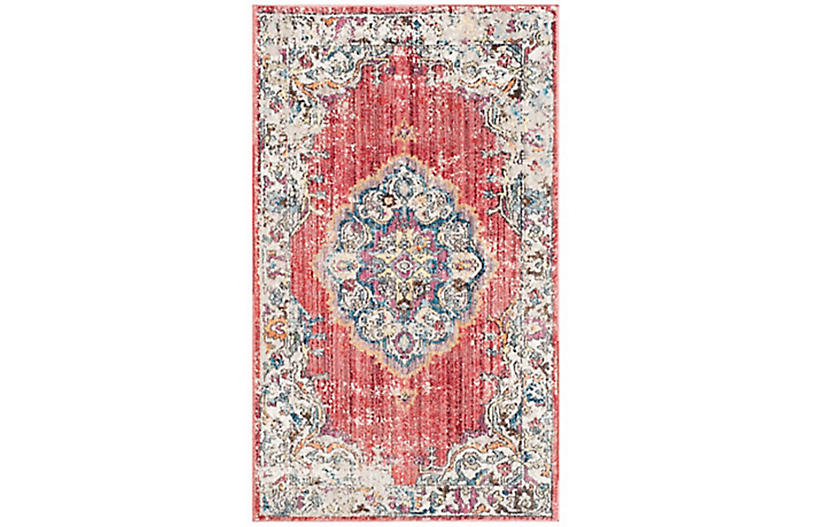Hardesty Rug, Fuchsia/Light Gray