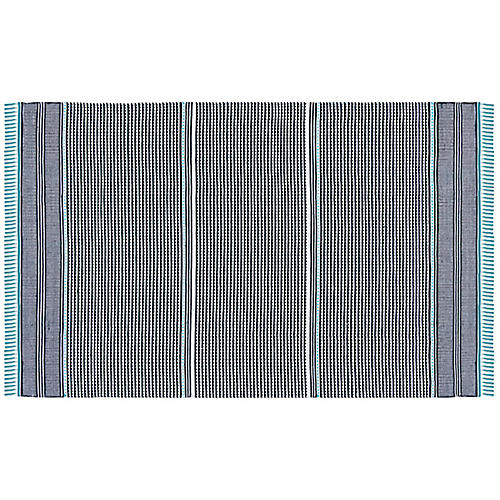 West Flat-Weave Rug, Turquoise/Multi