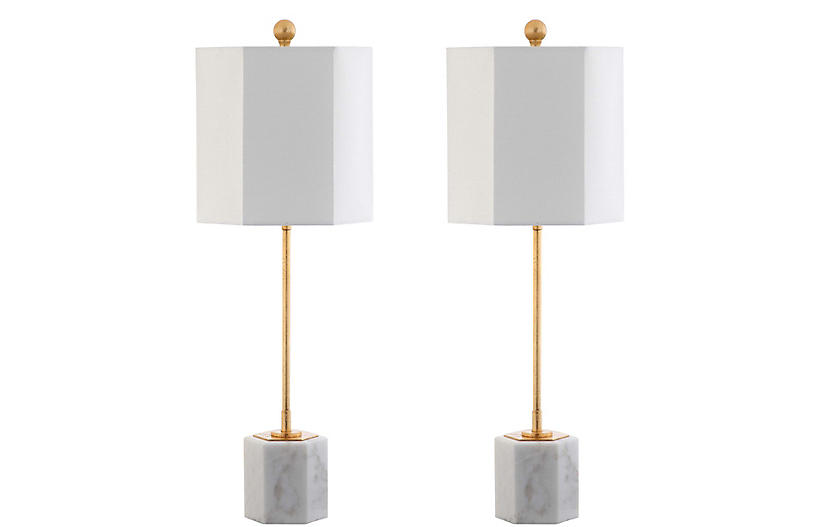 S/2 Willard Hexagonal Table Lamps, Gold Leaf/White