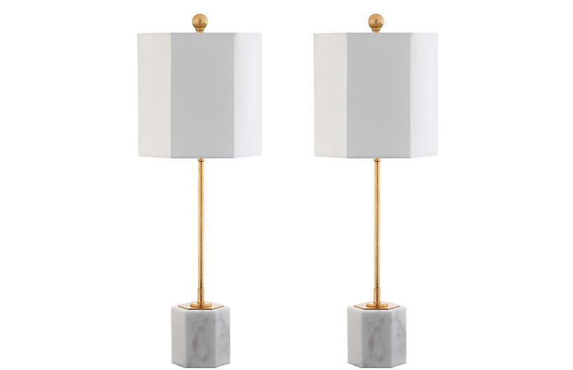 S/2 Willard Hexagonal Table Lamps, Gold Leaf/White