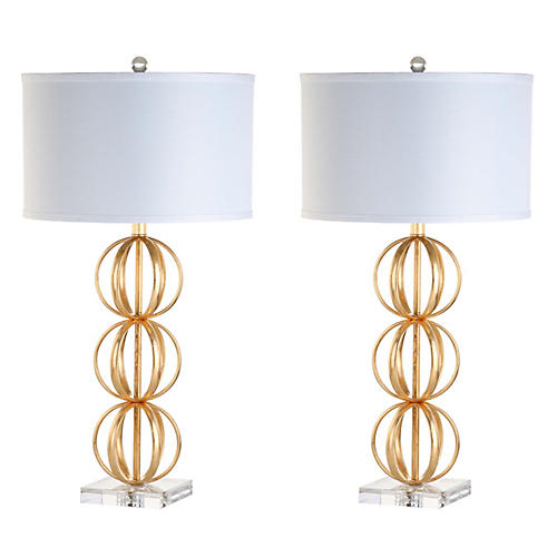 S/2 Slater Table Lamps, Gold/Crystal