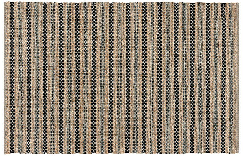 Ozit Jute-Blend Rug, Gray/Black