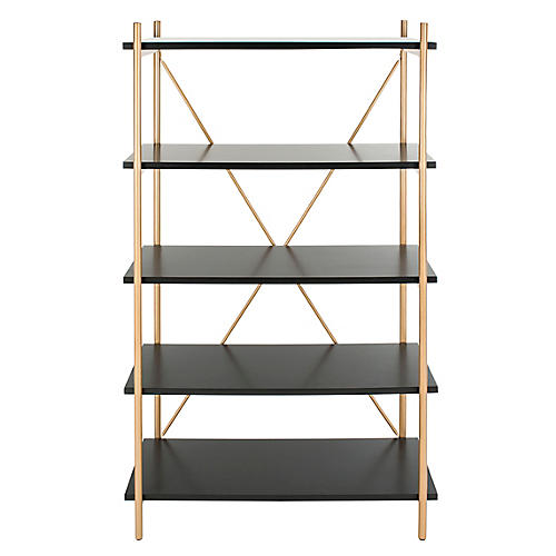 Mica 5-Tier Étagère, Gold/Black