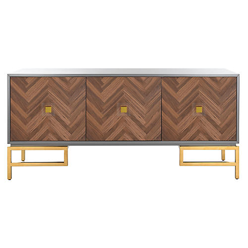 Burgess 3-Door Sideboard, Gray/Walnut