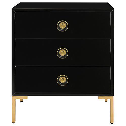Kennie 3-Drawer Nightstand, Black