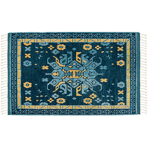 Keira Hand-Knotted Rug, Teal/Multi