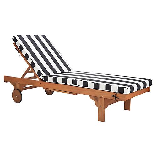 Siesta Outdoor Chaise, Black/White
