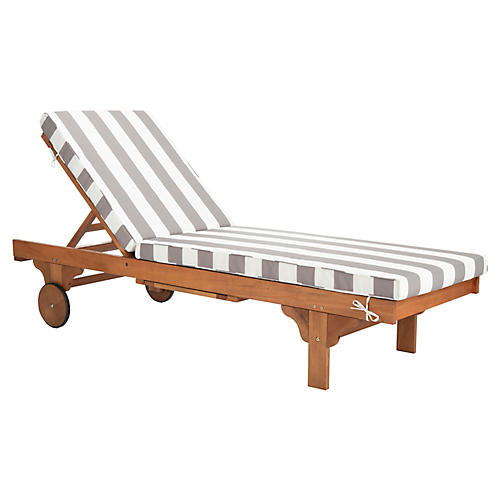 Siesta Outdoor Chaise, Gray/White