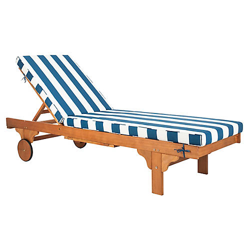 Siesta Outdoor Chaise, Navy/White