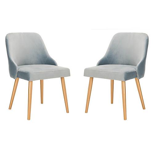 S/2 Andover Side Chairs, Slate Blue Velvet