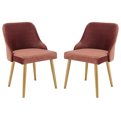 S/2 Andover Side Chairs, Dusty Rose Velvet