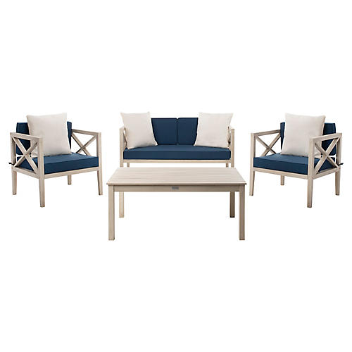 Davenport 4-Pc Outdoor Lounge Set, White