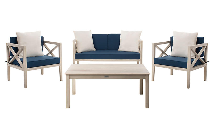 Davenport 4-Pc Outdoor Lounge Set, White