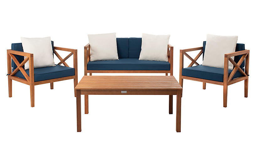 Davenport 4-Pc Outdoor Lounge Set, Natural
