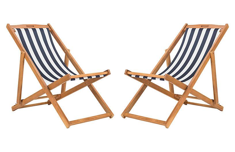 S/2 Tisch Sling Chairs, Navy/White