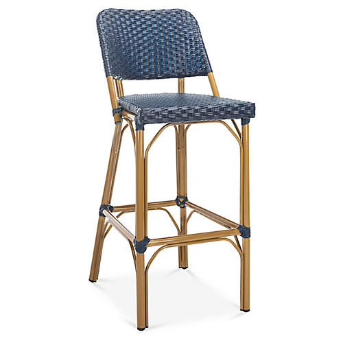Odeon Bistro Barstool, Navy/Light Brown