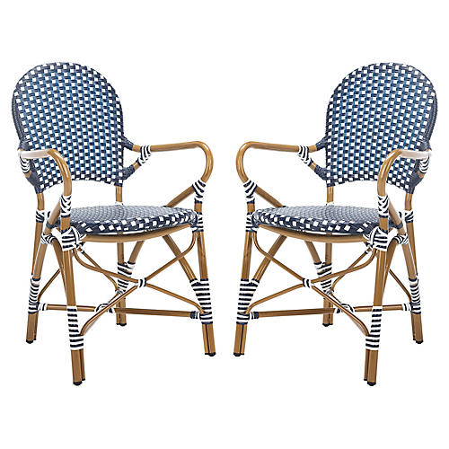 S/2 Hooper Stackable Armchairs, Navy/White