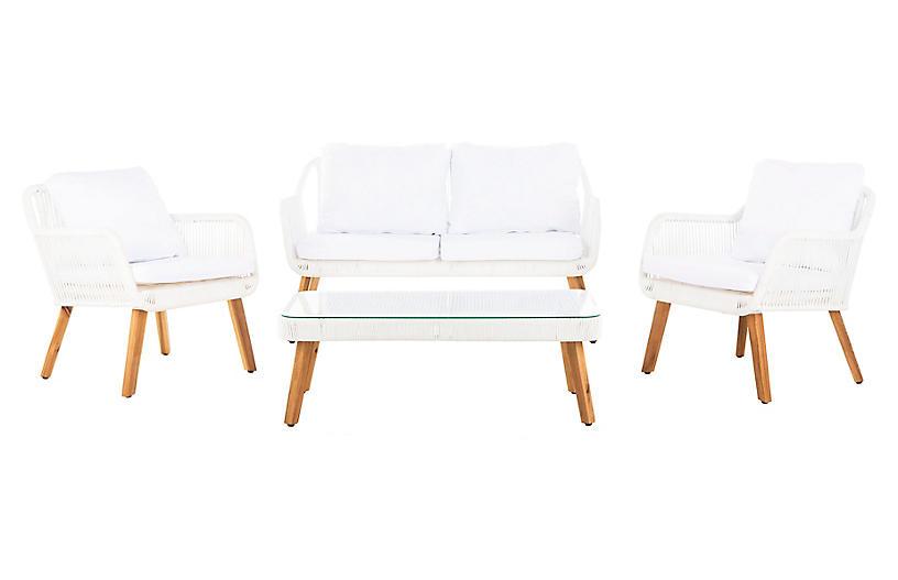 Aldric 4-Pc Lounge Set, Natural/White