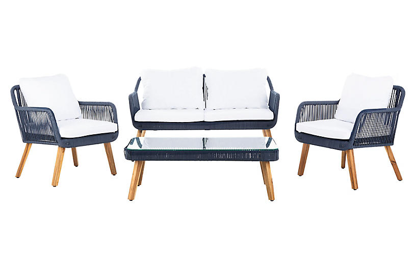 Aldric 4-Pc Lounge Set, Natural/Navy
