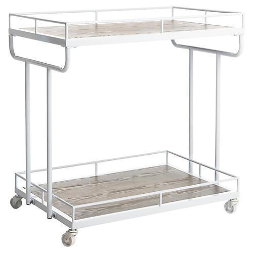 Daria Bar Cart, Rustic Oak/White