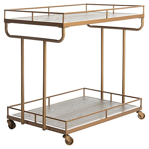 Daria Bar Cart, Rustic Oak/Gold