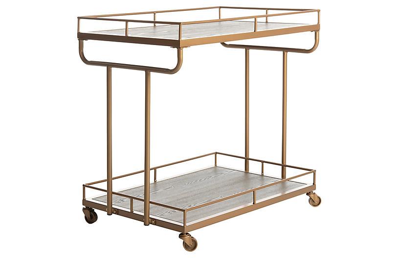 Daria Bar Cart, Rustic Oak/Gold