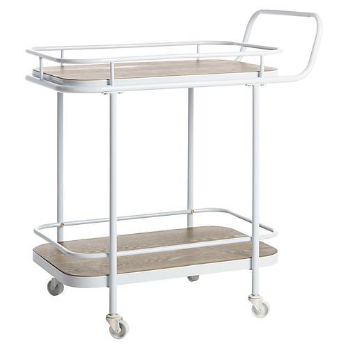 Aleem Bar Cart, Rustic Oak/White