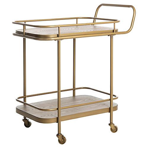 Aleem Bar Cart, Rustic Oak/Gold