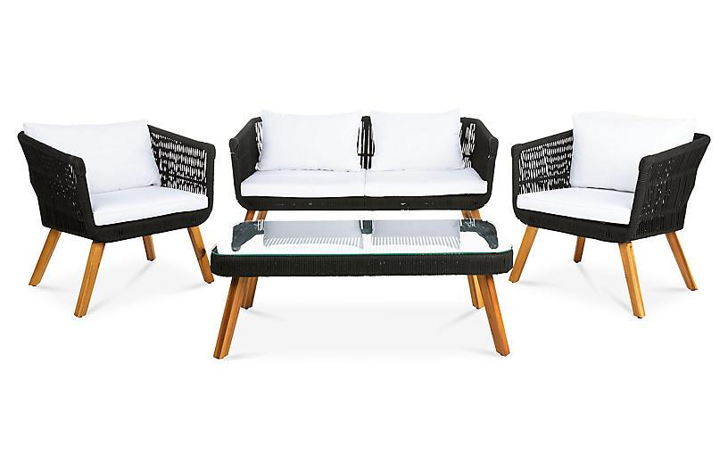 Denridge Outdoor 4Pc Set, Black/White