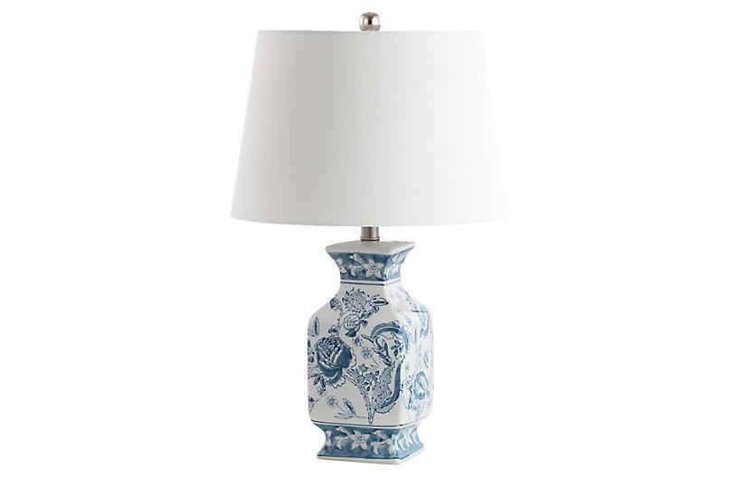 Sadie Table Lamp, Blue/White