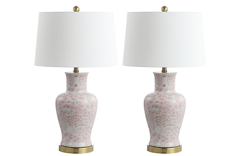 S/2 Babette Table Lamps, Pink/White