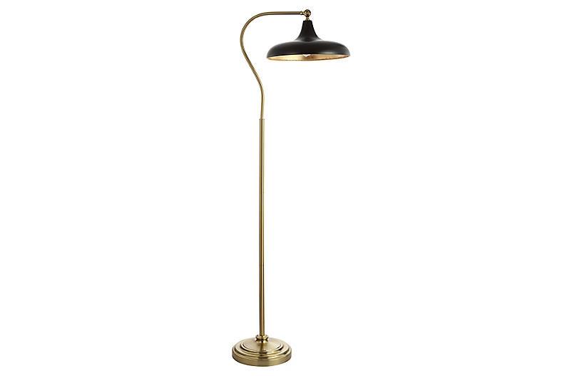 Zoe Floor Lamp, Brass/Black