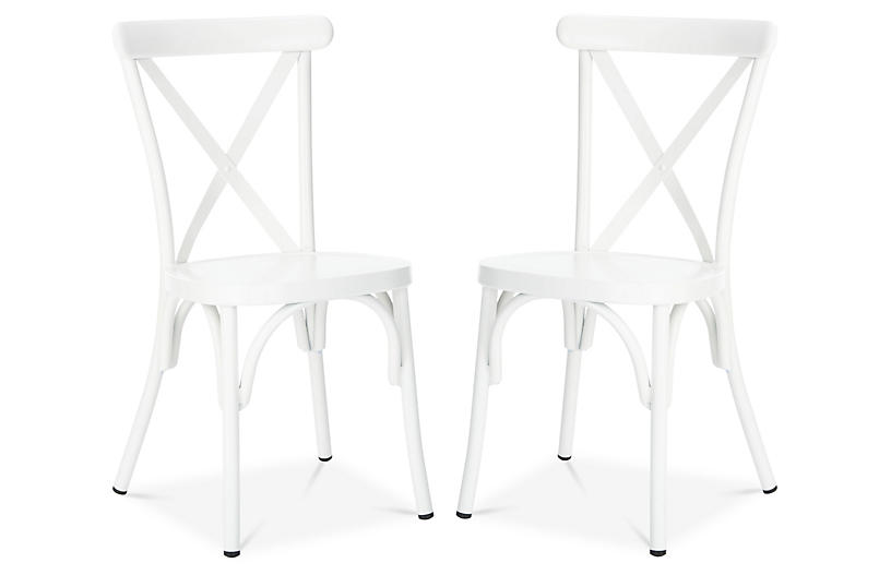 S/2 Axton Outdoor Side Chairs, White