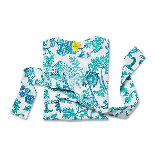 Amanda Short Cotton Kimono, Turquoise