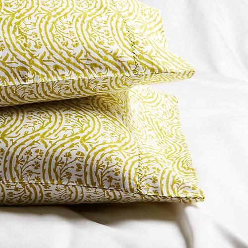S/2 Marl Standard Pillowcases, Vine Green