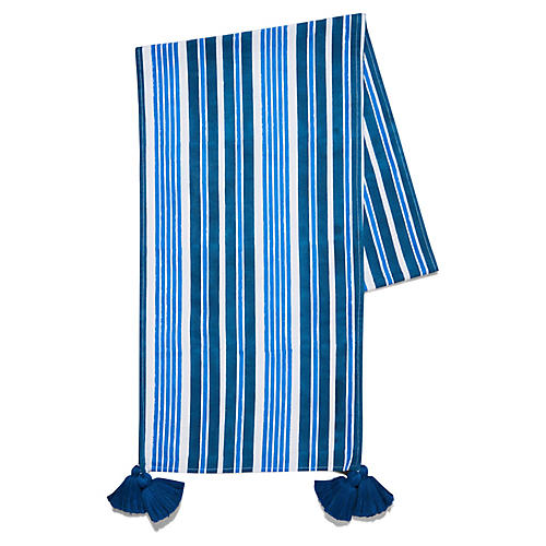 Fouta Border Table Runner, Blue/White