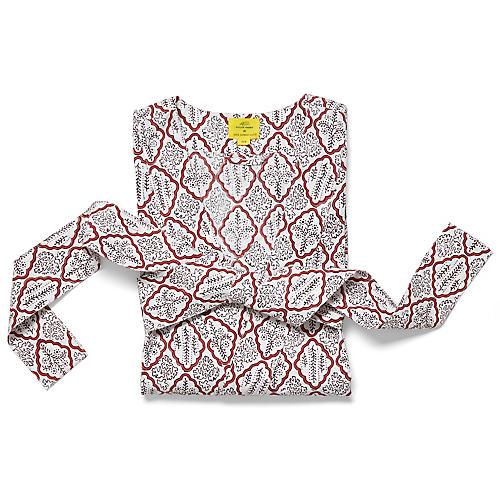 Trellis Short Cotton Kimono, Rosewood