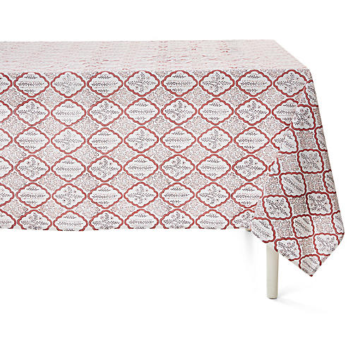 Trellis Tablecloth, Rosewood