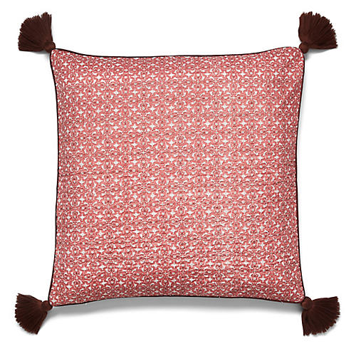 Tinibouti 22x22 Quilted Pillow, Rosewood
