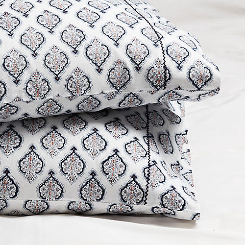 S/2 Estampe Pillowcases, Navy