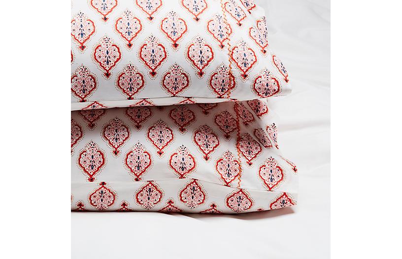 S/2 Estampe Pillowcases, Coral