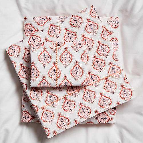 Estampe Sheet Set, Coral