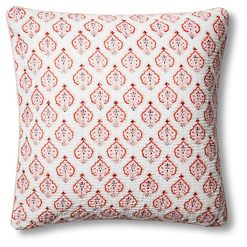 Estampe 22x22 Quilted Pillow, Coral