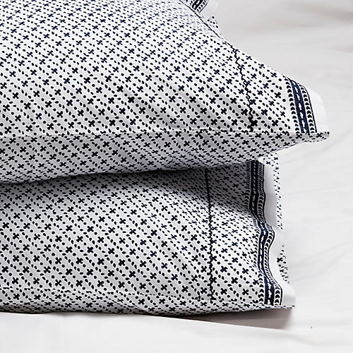 S/2 Poincon Pillowcases, Navy Negative