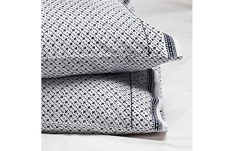 S/2 Poincon Pillowcases, Navy Negative