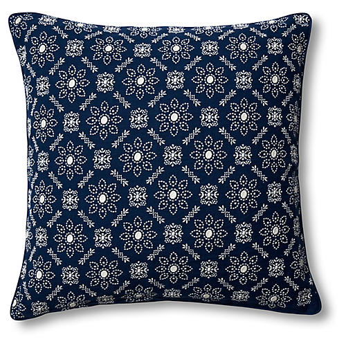 Pergola 22x22 Pillow, Navy Linen