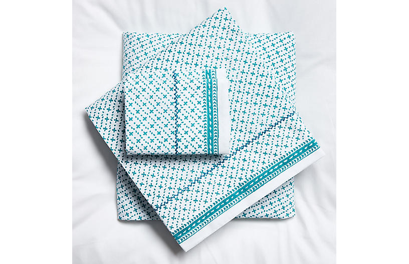 Poincon Sheet Set, Teal
