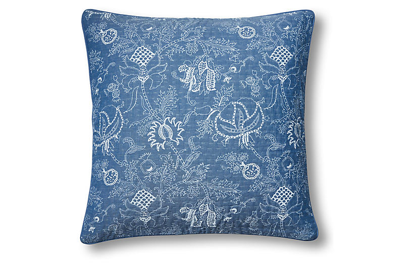 Amanda Trace 22x22 Quilted Pillow, Blue